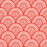 Round red patterns with flowers Royalty Free Stock Image