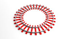 Round red railway track Royalty Free Stock Photo