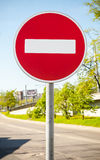 Round red road sign on metal pole. No Entry Stock Images
