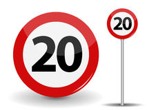 Round Red Road Sign Speed limit 20 kilometers per hour. Vector Illustration. Stock Images
