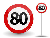 Round Red Road Sign Speed limit 80 kilometers per hour. Vector Illustration. Royalty Free Stock Photo