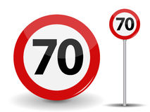 Round Red Road Sign Speed limit 70 kilometers per hour. Vector Illustration. Royalty Free Stock Photo