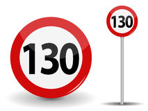 Round Red Road Sign Speed limit 130 kilometers per hour. Vector Illustration. EPS10 royalty free illustration