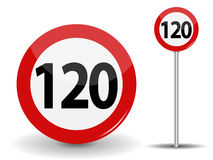 Round Red Road Sign Speed limit 120 kilometers per hour. Vector Illustration. Royalty Free Stock Images