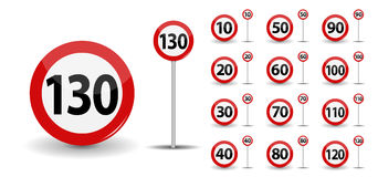 Round Red Road Sign Speed limit 10-130 kilometers per hour. Vector Illustration. EPS10 Royalty Free Stock Image