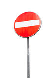 Round red sign No Entry on metal pole isolated Stock Image