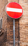 Round red sign No Entry on metal pole Stock Photos