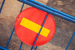 Round red sign No Entry on road barrier Royalty Free Stock Photo