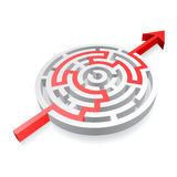 Round Red Solved Maze. A 3D rounded, thick walled Maze, solved by a red line ending with an Arrow Royalty Free Stock Photo