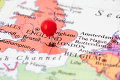 Red Pushpin on Map of England Stock Image