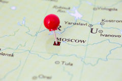 Red Pushpin on Map of Russia Stock Images