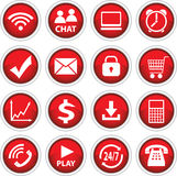 Round Red Vector Icons Royalty Free Stock Photo