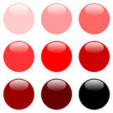 Round Red Web Buttons. Red Round Website Buttons - Web Safe Colours - sRGB Colour Space Stock Photography
