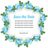 Round retro card with blue flowers Stock Images