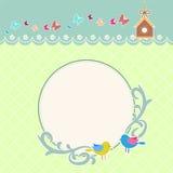 Round retro frame with birds background Royalty Free Stock Image