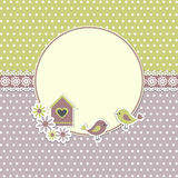Round retro frame with birds Stock Image