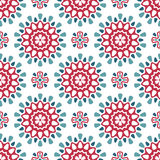 Round retro pattern. Seamless pattern with round green and red decorate elements Stock Photo
