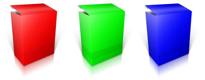 Round RGB box. Software box Stock Images