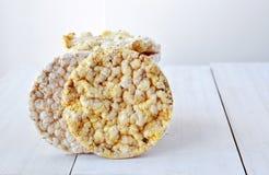 Round rice cakes and corn cakes Stock Photos