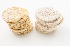 Round rice and corn cakes/ crackers, on white. Background Stock Photos
