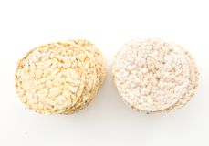 Round rice and corn cakes/ crackers, on white. Background Stock Photography