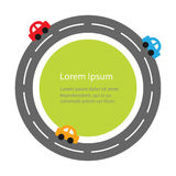 Round road and cartoon cars. Flat design. Green circle grass. White background. Royalty Free Stock Photo