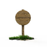 Round road sign. Old wooden road  sign with  grass and stones Stock Images