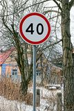 Road sign speed limit of forty kilometers outdoors on a winter day Royalty Free Stock Photography