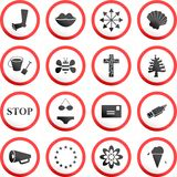 Round road signs Stock Photos