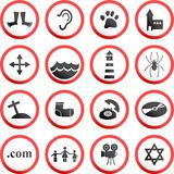 Round road signs. Collection of random and made up road signs Royalty Free Stock Images