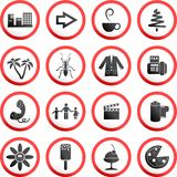 Round road signs. Collection of random and made up round road signs Royalty Free Stock Image