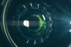 Round robotic eye. Close up. 3D Rendering Stock Image