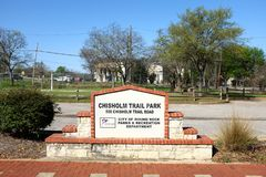 Chisholm Trail Park, Round Rock, Texas. ROUND ROCK, TEXAS - MARCH 19, 2018: Chisholm Trail Park. The park features sculpture commemorating the spirit of the Royalty Free Stock Photo
