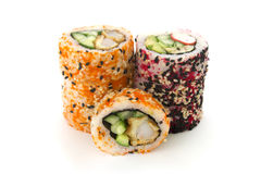 Round rolls with cucumber and crab isolated Stock Images