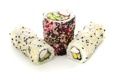 Round rolls with cucumber and crab vertically isolated Royalty Free Stock Image