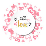 Round romantic background with watercolor pink hearts Stock Photo
