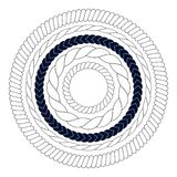 Round rope elements, frames, borders Royalty Free Stock Image