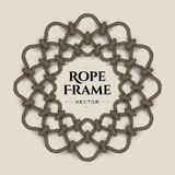 Round rope frame. Round realistic rope frame with knots and loops. Vector image Royalty Free Stock Images