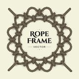 Round rope frame. Round realistic rope frame with knots and loops. Vector image Stock Illustration