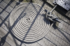 Round rope on ships deck Royalty Free Stock Photos