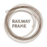 Round rough railway frame. Royalty Free Stock Photos