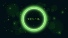 Round, rozjarzony zielony sztandar na czarnym tle, Sztandar w postaci bąbla Miejsce dla twój projektów jaskrawy royalty ilustracja
