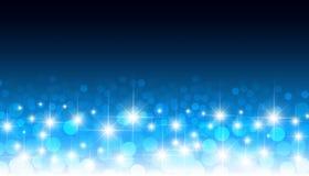 Round rozjarzonych confetti bokeh wektoru błękitny tło Kółkowy okulistyczny obiektyw zamazujący zaświeca świątecznego wzór ilustracji