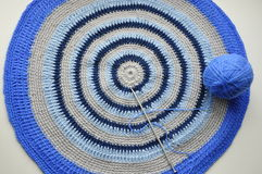 Round rug handmade. Royalty Free Stock Photography