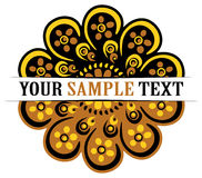 Round russian symbol. Gold and black flower Stock Images