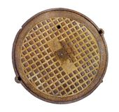 Round rusty steel  hatch of the city sewerage system. Top view. Isolated on white with patch Stock Photos