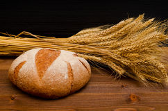 Round rye bread and ears of wheat on a wooden table. Black background Stock Image