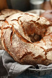 Round rye bread on a napkin Stock Images