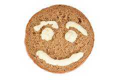 Round of Rye Bread with pictured smile Royalty Free Stock Image