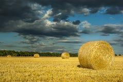 Round słoma bele na skoszonym zbożowym polu przeciw dramatycznemu niebu z zdjęcia stock